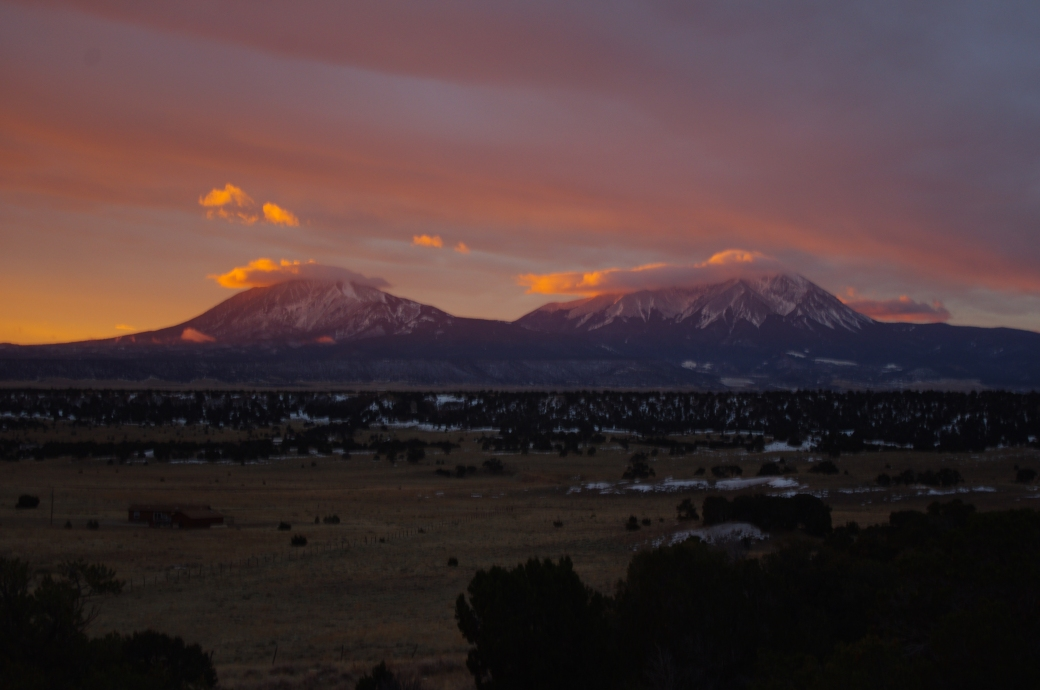 The Spanish Peaks in the ghostly morning light!