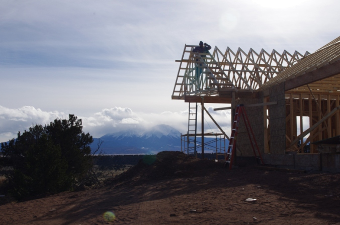decking Comanche home with mountains in backgroun