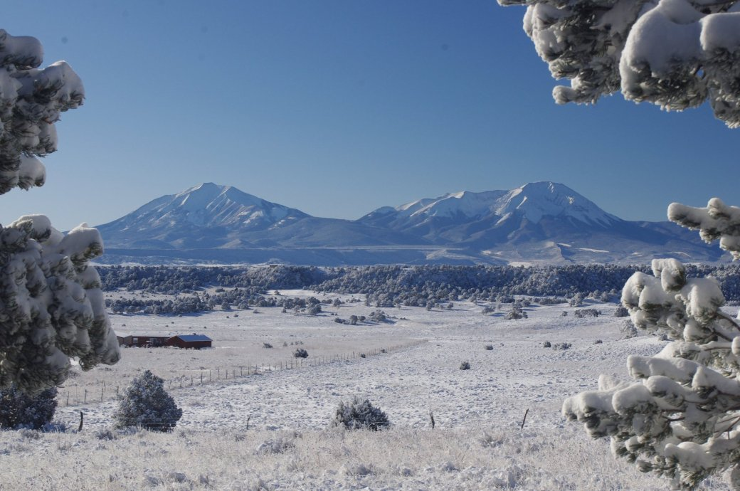 great Mike photo of snow and Spanish Peaks