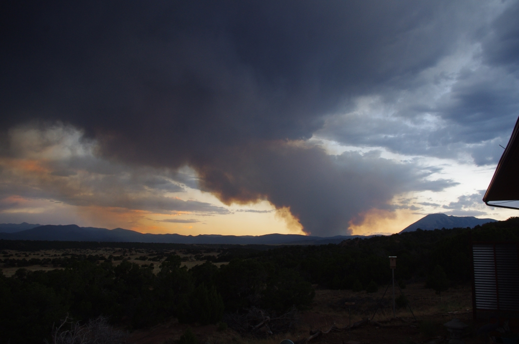 first view of Spring Fire Wed. towards Mt Mestas on June 27th