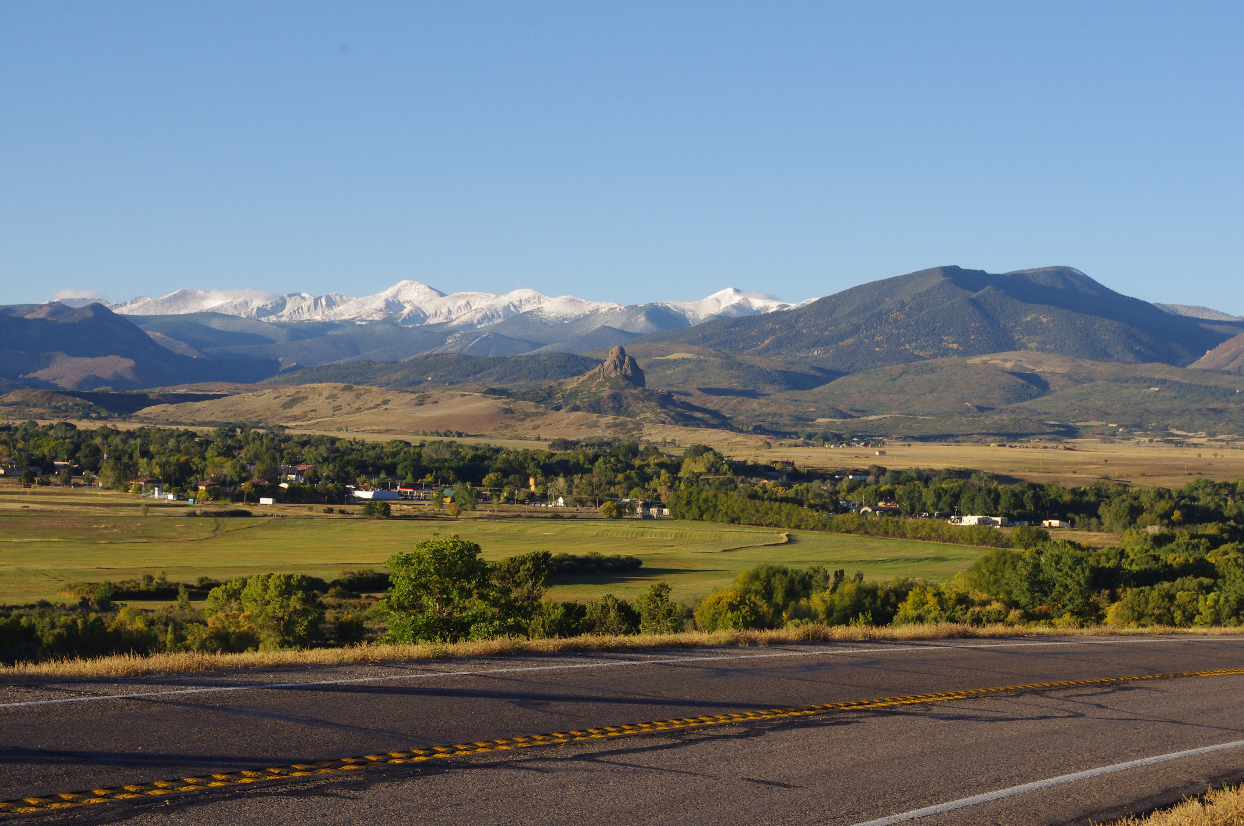 View of La Veta valley from highway