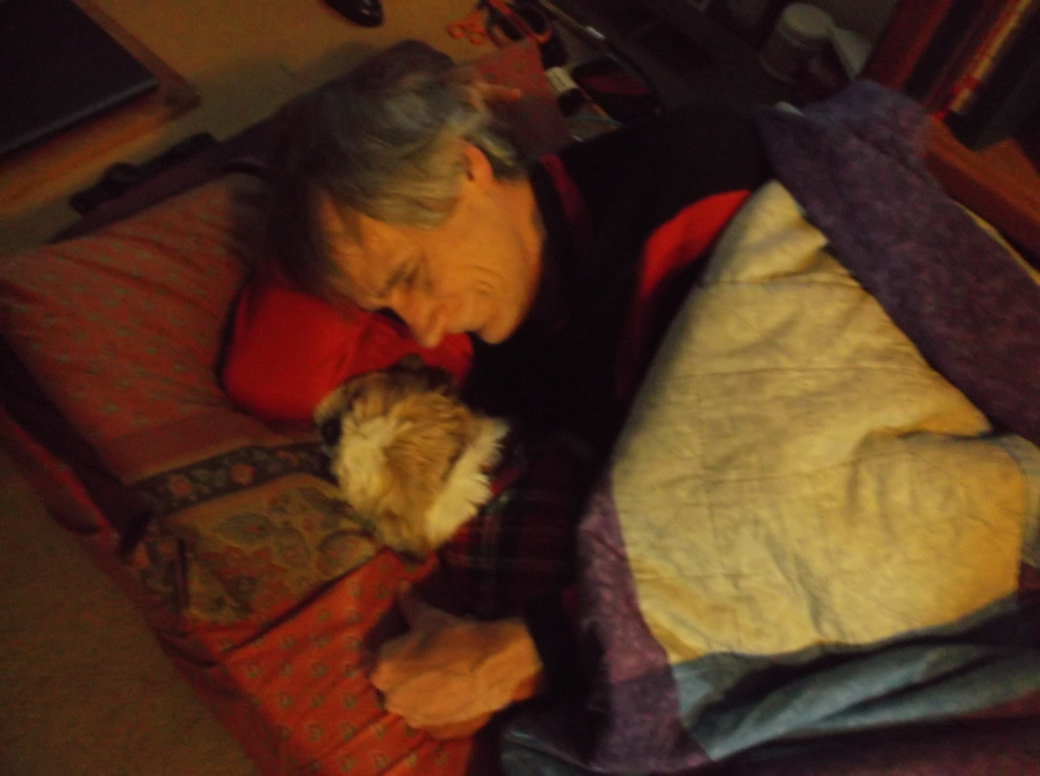 Mike snuggling with Rasta 2013